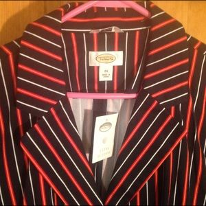 Talbots Striped Women's Blazer. Size 20. Black Red